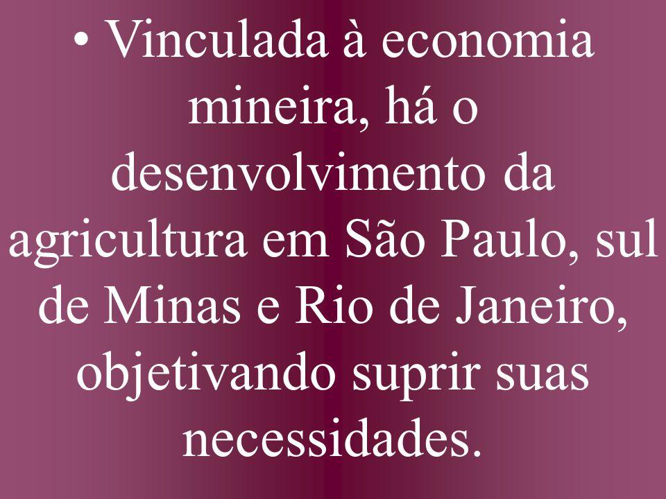 • Vinculada à economia mineira, há o desenvolvimento da agricultura em São Paulo, sul de Minas e Rio de Janeiro, objetivando suprir suas necessidades.