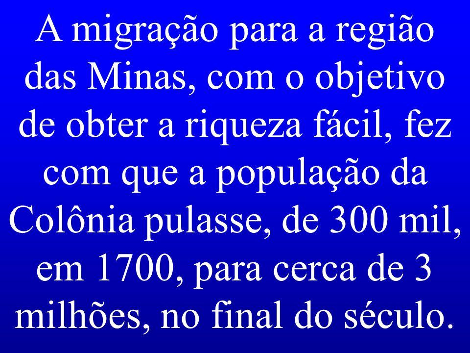 A migração para a região das Minas, com o objetivo de obter a riqueza fácil, fez com que a população da Colônia pulasse, de 300 mil, em 1700, para cerca de 3 milhões, no final do século.