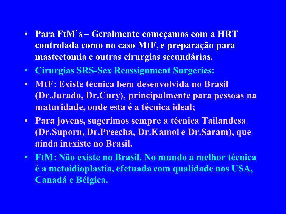 Para FtM`s – Geralmente começamos com a HRT controlada como no caso MtF, e preparação para mastectomia e outras cirurgias secundárias.