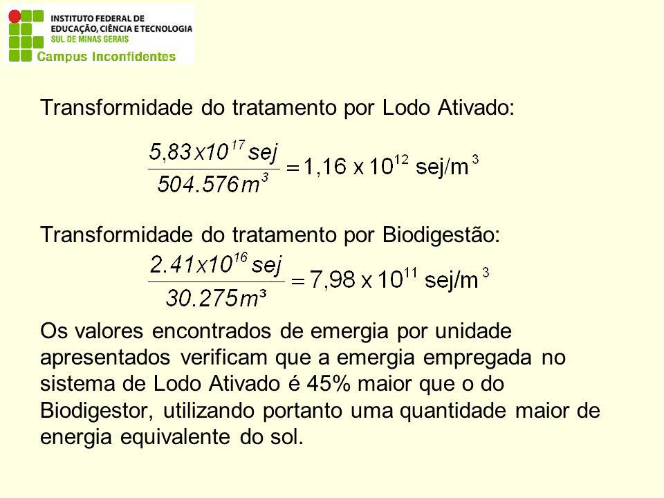 Transformidade do tratamento por Lodo Ativado: