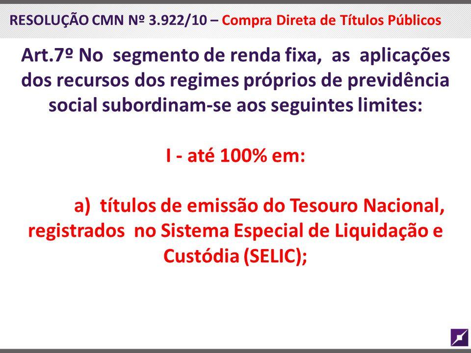 RESOLUÇÃO CMN Nº 3.922/10 – Compra Direta de Títulos Públicos