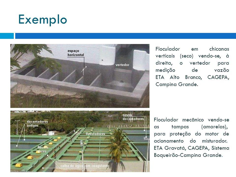 Exemplo Floculador em chicanas verticais (seco) vendo-se, à direita, o vertedor para medição de vazão ETA Alto Branco, CAGEPA, Campina Grande.