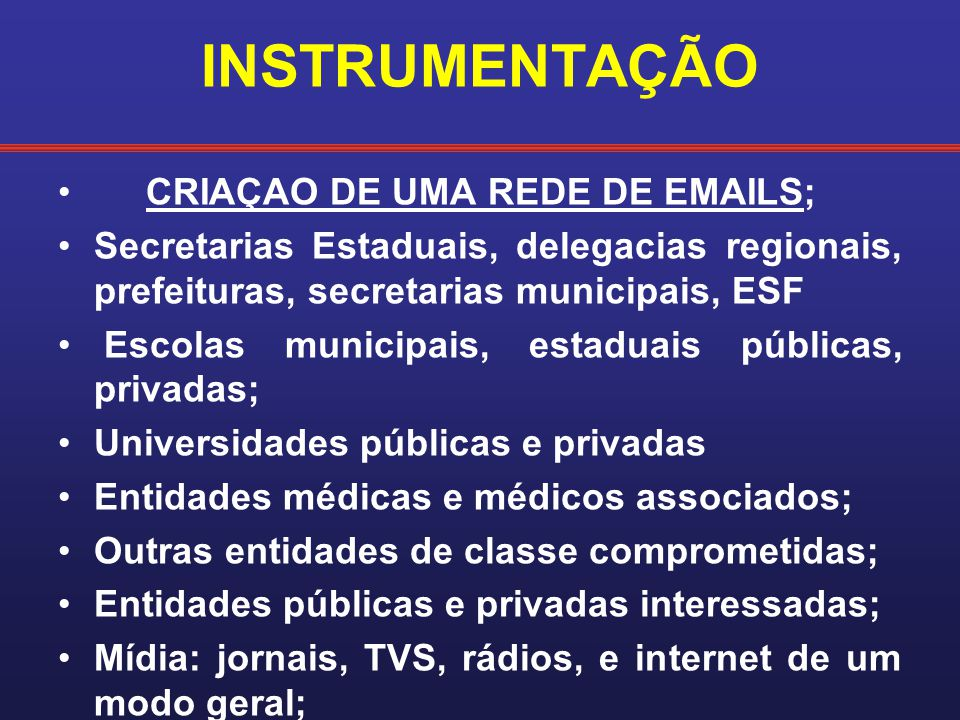 INSTRUMENTAÇÃO CRIAÇAO DE UMA REDE DE EMAILS;