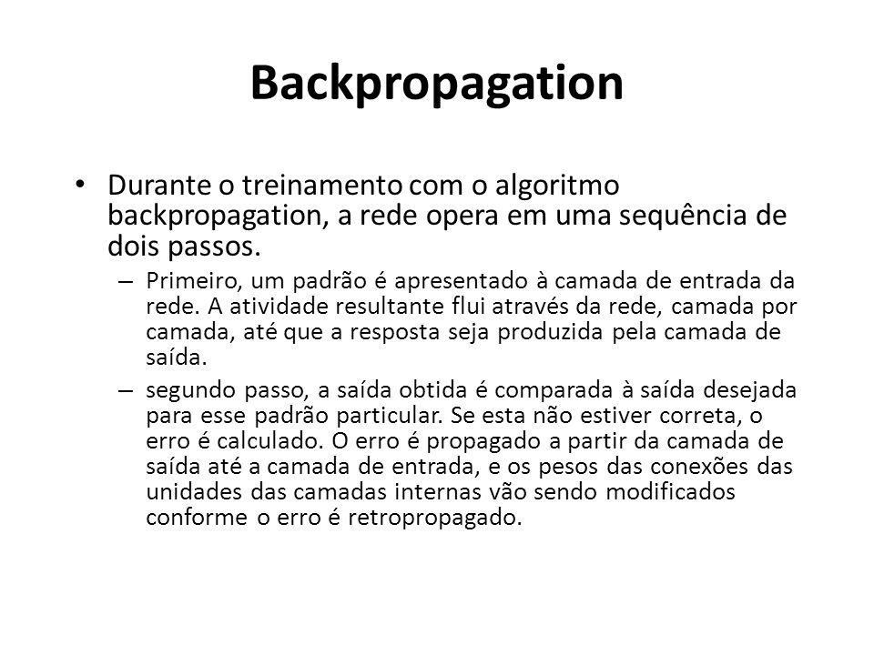 Backpropagation Durante o treinamento com o algoritmo backpropagation, a rede opera em uma sequência de dois passos.