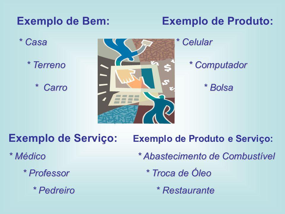 Exemplo de Bem: Exemplo de Produto: