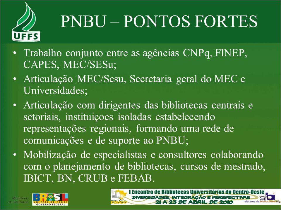PNBU – PONTOS FORTES Trabalho conjunto entre as agências CNPq, FINEP, CAPES, MEC/SESu;