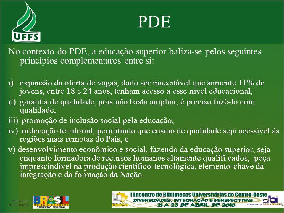 PDE No contexto do PDE, a educação superior baliza-se pelos seguintes princípios complementares entre si: