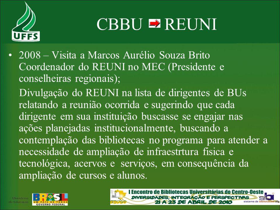 CBBU REUNI 2008 – Visita a Marcos Aurélio Souza Brito Coordenador do REUNI no MEC (Presidente e conselheiras regionais);