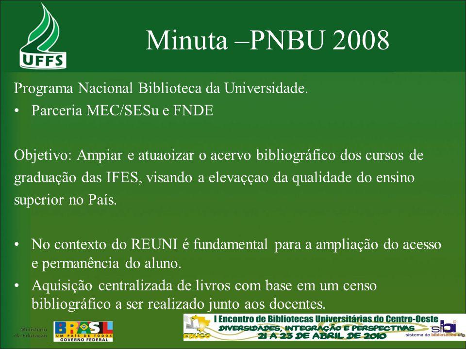 Minuta –PNBU 2008 Programa Nacional Biblioteca da Universidade.
