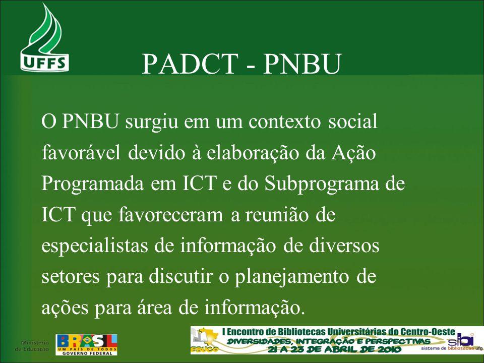 PADCT - PNBU O PNBU surgiu em um contexto social