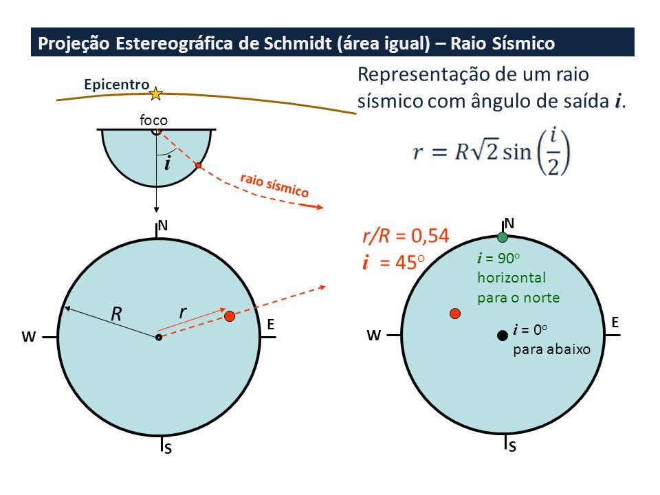 Representação de um raio sísmico com ângulo de saída i.