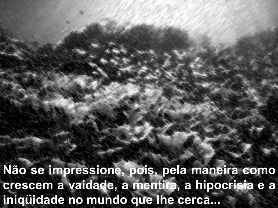 Não se impressione, pois, pela maneira como crescem a vaidade, a mentira, a hipocrisia e a iniqüidade no mundo que lhe cerca...