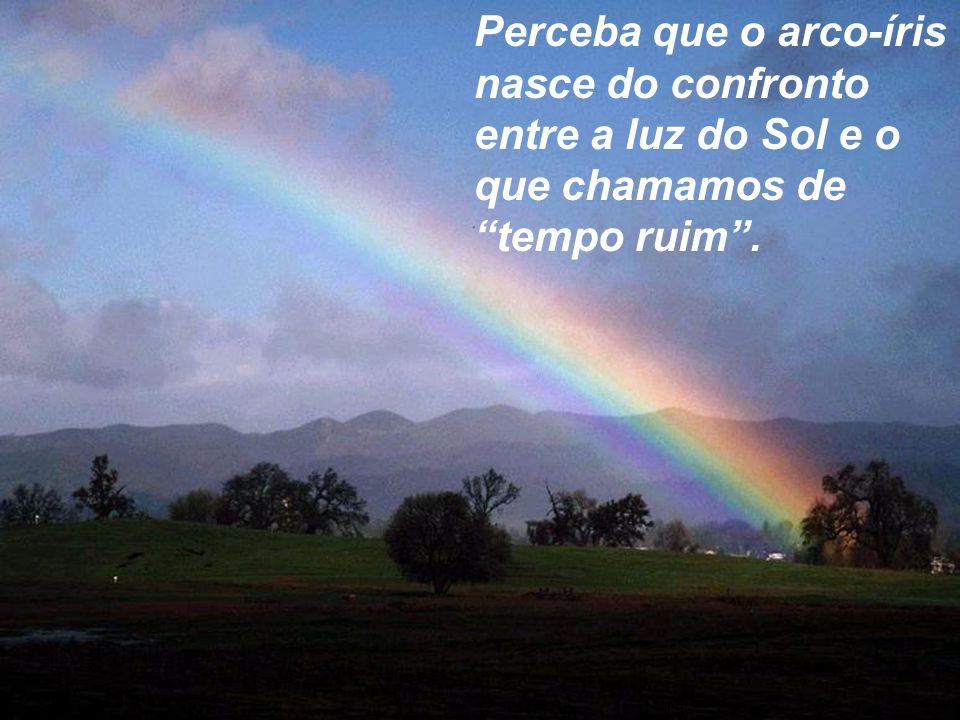 Perceba que o arco-íris nasce do confronto entre a luz do Sol e o que chamamos de