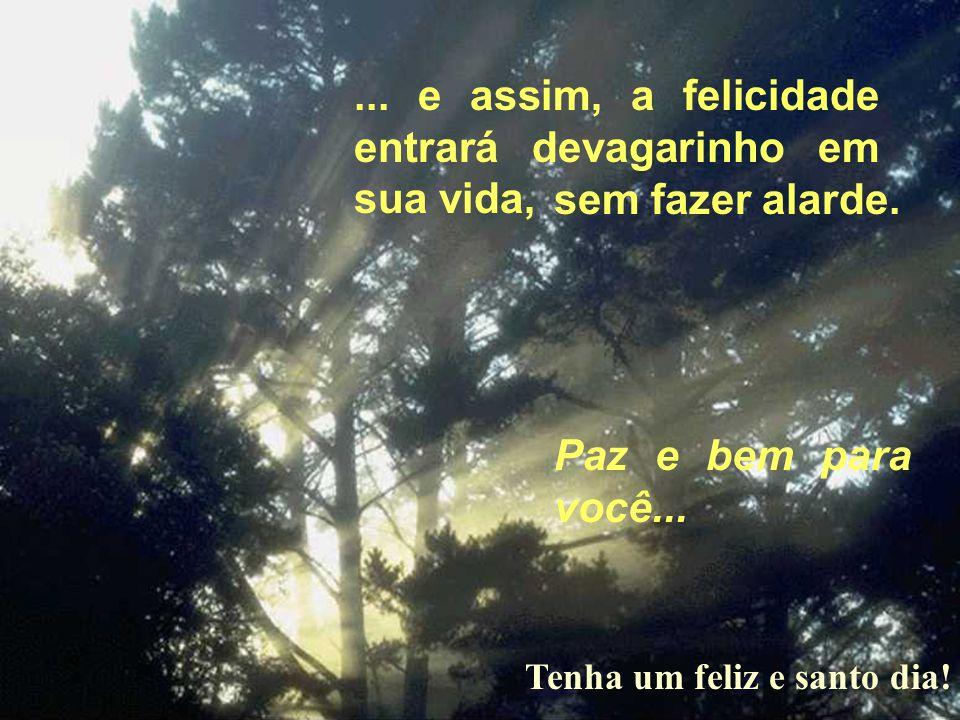 ... e assim, a felicidade entrará devagarinho em sua vida,