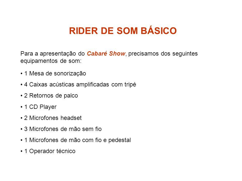 RIDER DE SOM BÁSICO Para a apresentação do Cabaré Show, precisamos dos seguintes equipamentos de som: