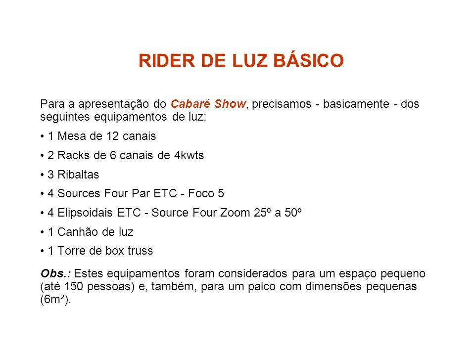 RIDER DE LUZ BÁSICO Para a apresentação do Cabaré Show, precisamos - basicamente - dos seguintes equipamentos de luz: