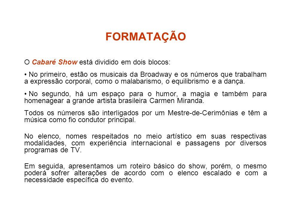 FORMATAÇÃO O Cabaré Show está dividido em dois blocos: