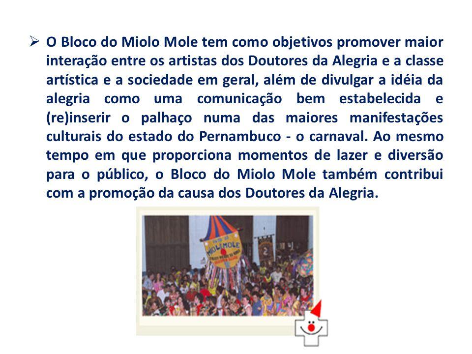 O Bloco do Miolo Mole tem como objetivos promover maior interação entre os artistas dos Doutores da Alegria e a classe artística e a sociedade em geral, além de divulgar a idéia da alegria como uma comunicação bem estabelecida e (re)inserir o palhaço numa das maiores manifestações culturais do estado do Pernambuco - o carnaval.