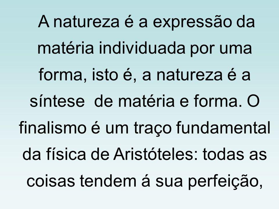 A natureza é a expressão da matéria individuada por uma forma, isto é, a natureza é a síntese de matéria e forma.