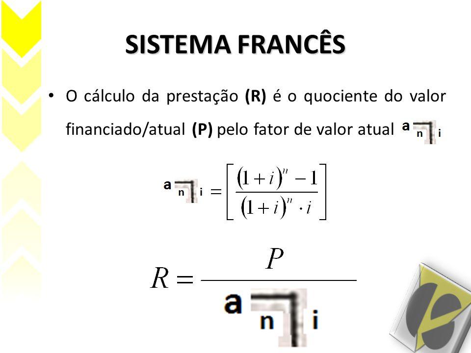 SISTEMA FRANCÊS O cálculo da prestação (R) é o quociente do valor financiado/atual (P) pelo fator de valor atual .