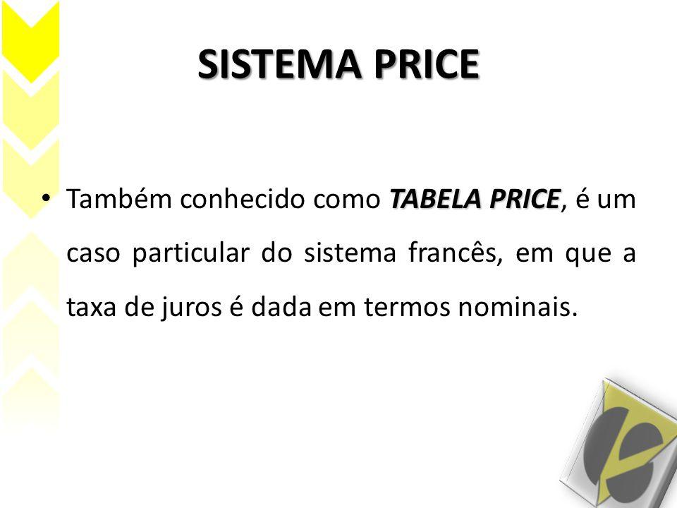 SISTEMA PRICE Também conhecido como TABELA PRICE, é um caso particular do sistema francês, em que a taxa de juros é dada em termos nominais.