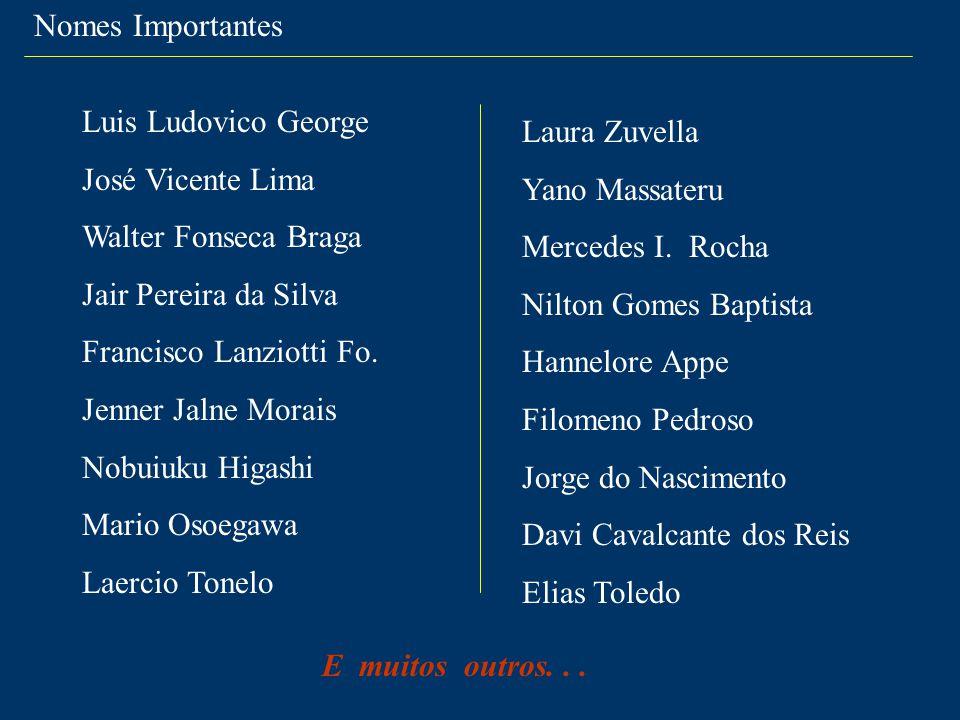 Nomes Importantes Luis Ludovico George. José Vicente Lima. Walter Fonseca Braga. Jair Pereira da Silva.
