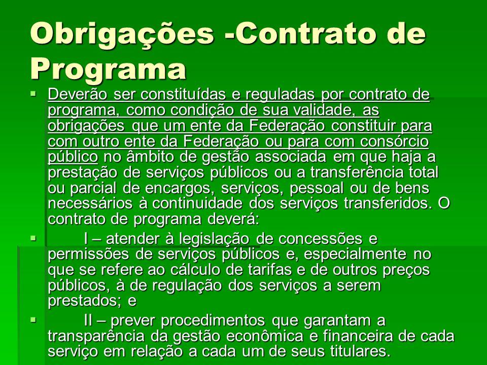 Obrigações -Contrato de Programa