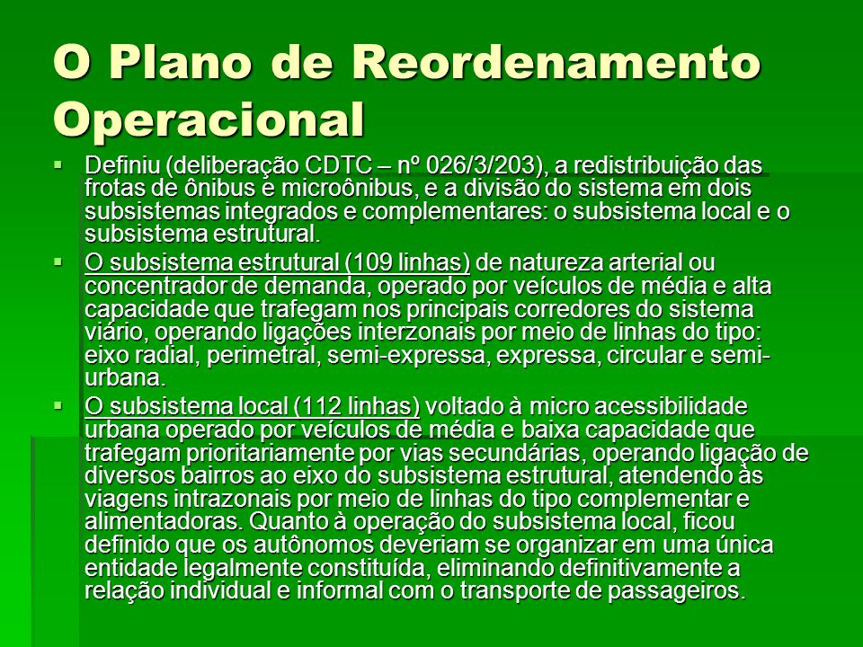 O Plano de Reordenamento Operacional