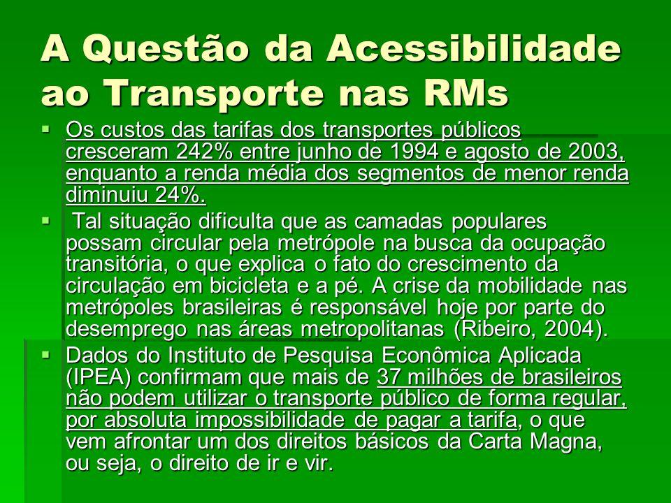 A Questão da Acessibilidade ao Transporte nas RMs