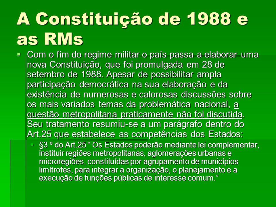 A Constituição de 1988 e as RMs
