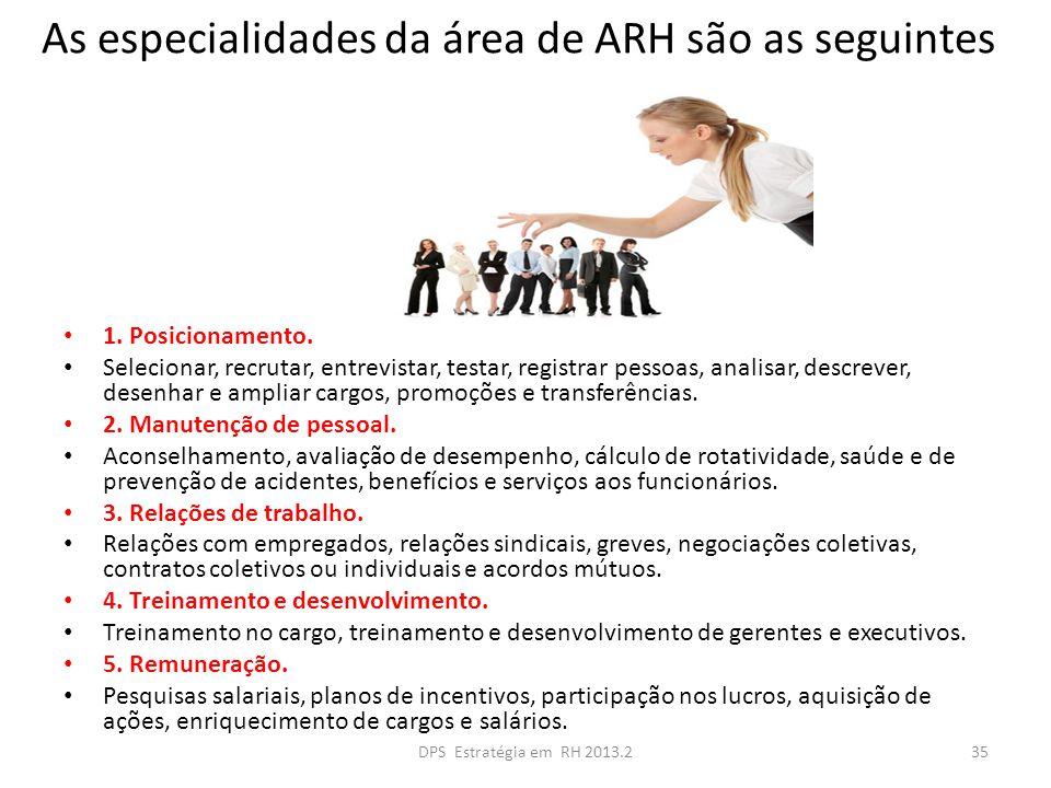 As especialidades da área de ARH são as seguintes