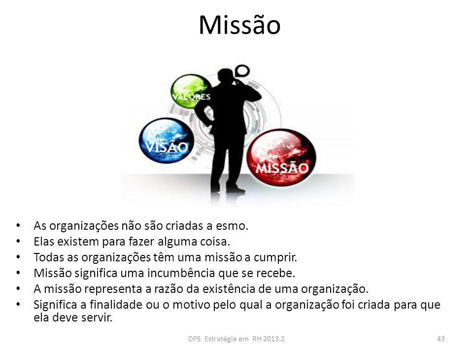 Missão As organizações não são criadas a esmo.