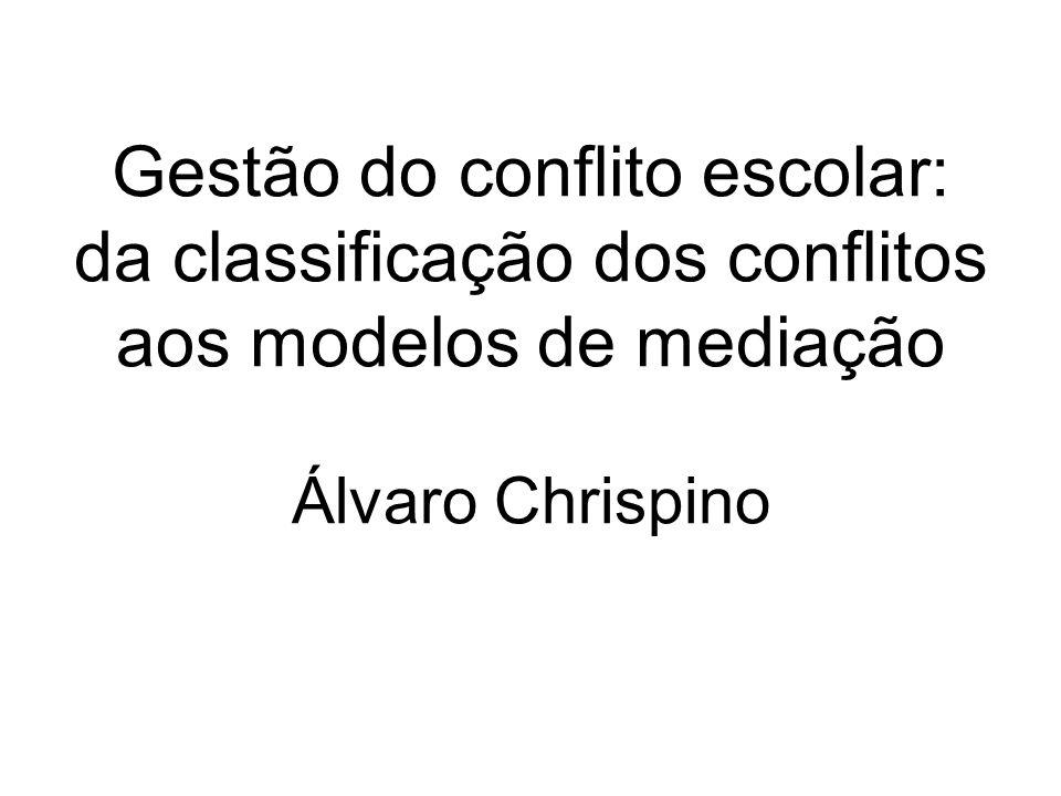 Gestão do conflito escolar: da classificação dos conflitos aos modelos de mediação Álvaro Chrispino
