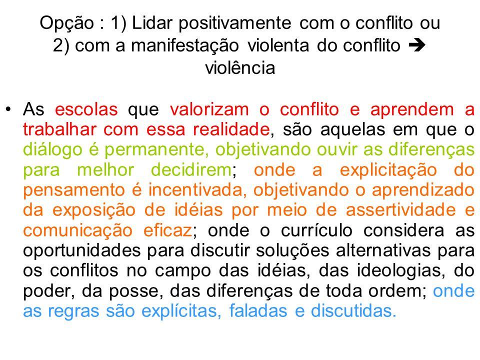 Opção : 1) Lidar positivamente com o conflito ou 2) com a manifestação violenta do conflito  violência