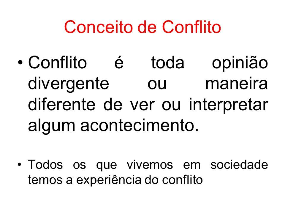 Conceito de Conflito Conflito é toda opinião divergente ou maneira diferente de ver ou interpretar algum acontecimento.