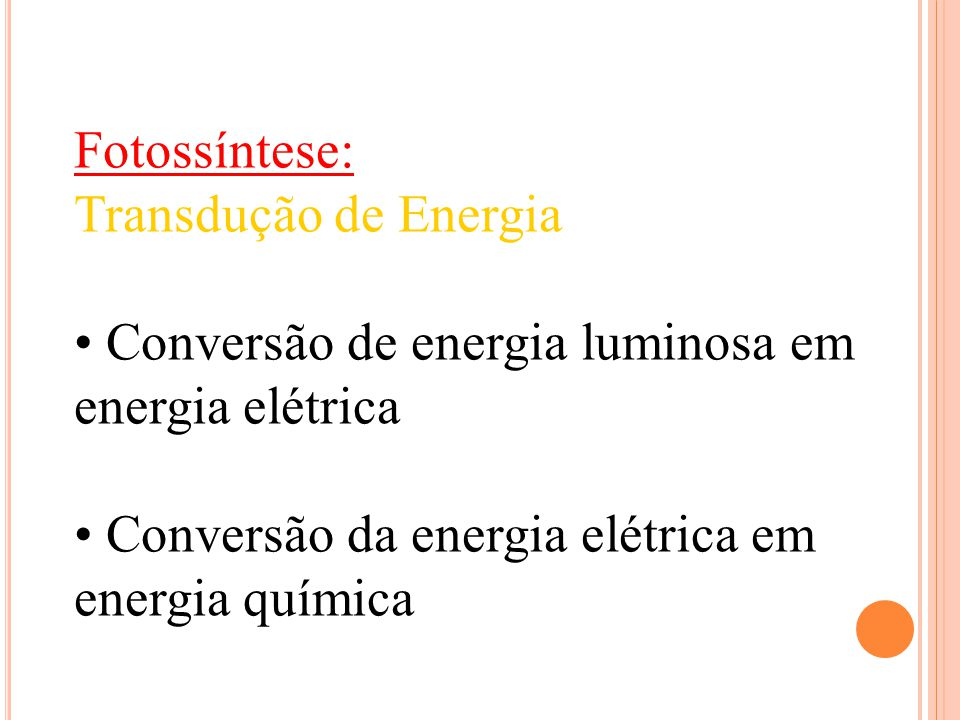 Fotossíntese: Transdução de Energia. • Conversão de energia luminosa em energia elétrica.