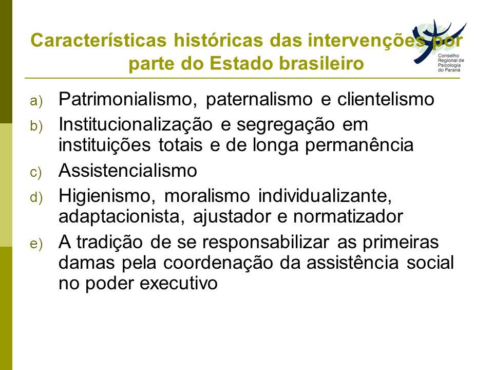 Características históricas das intervenções por parte do Estado brasileiro