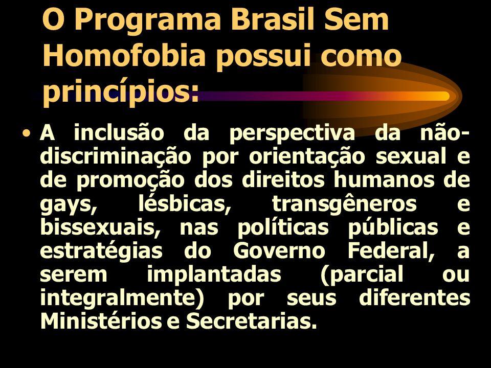 O Programa Brasil Sem Homofobia possui como princípios: