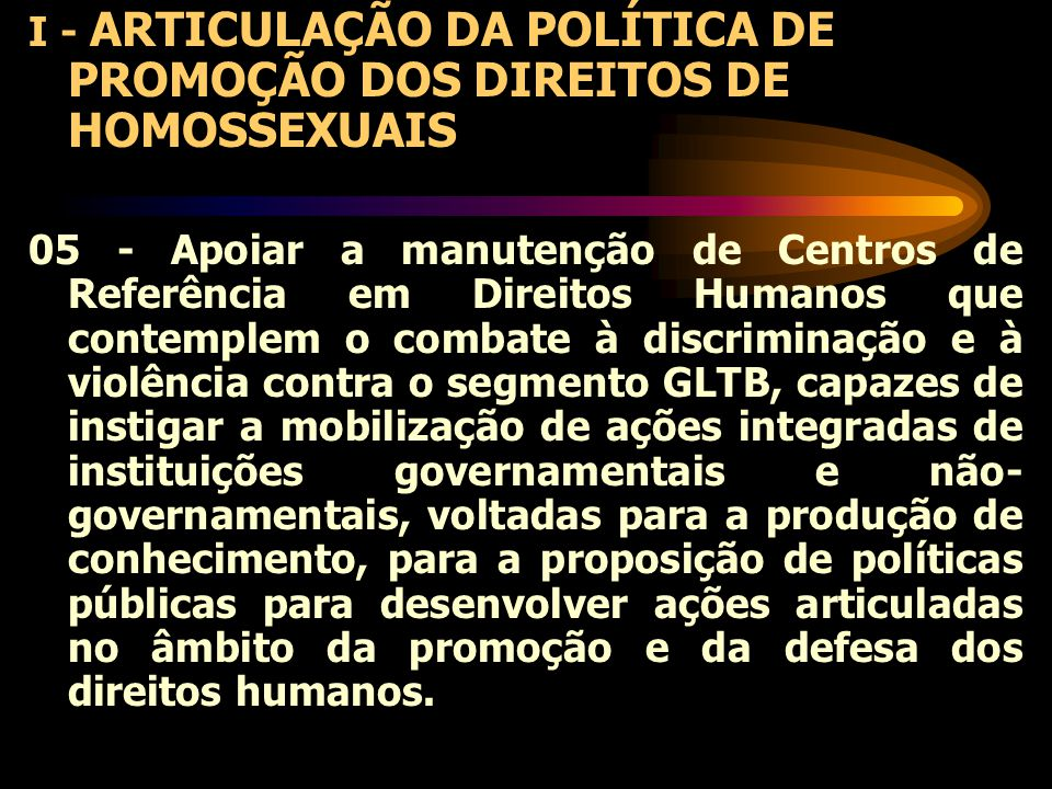 I - ARTICULAÇÃO DA POLÍTICA DE PROMOÇÃO DOS DIREITOS DE HOMOSSEXUAIS