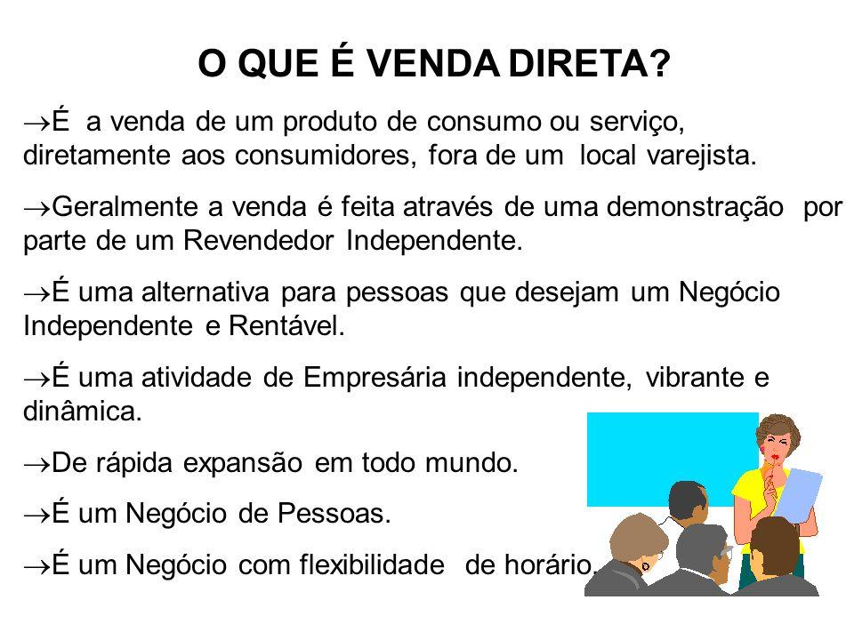 O QUE É VENDA DIRETA É a venda de um produto de consumo ou serviço, diretamente aos consumidores, fora de um local varejista.