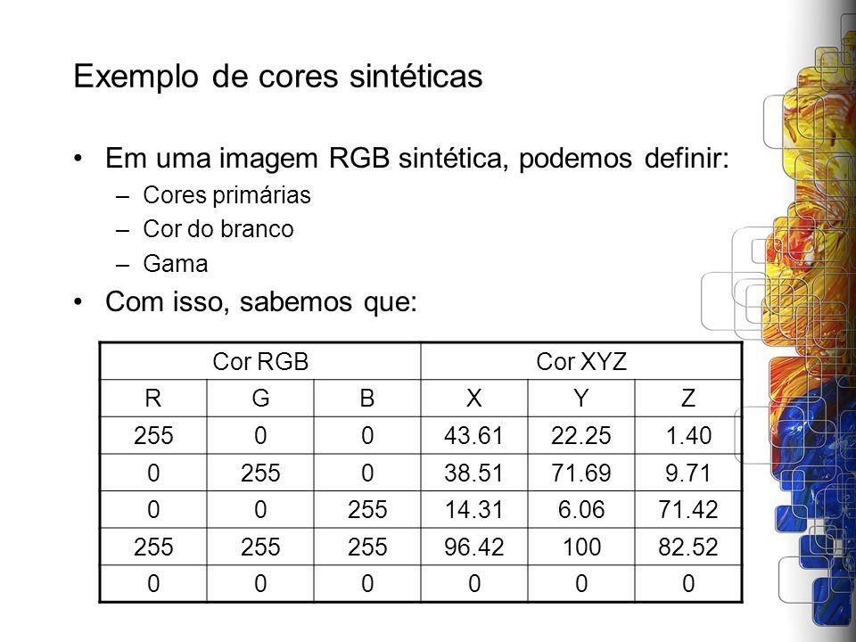 Exemplo de cores sintéticas