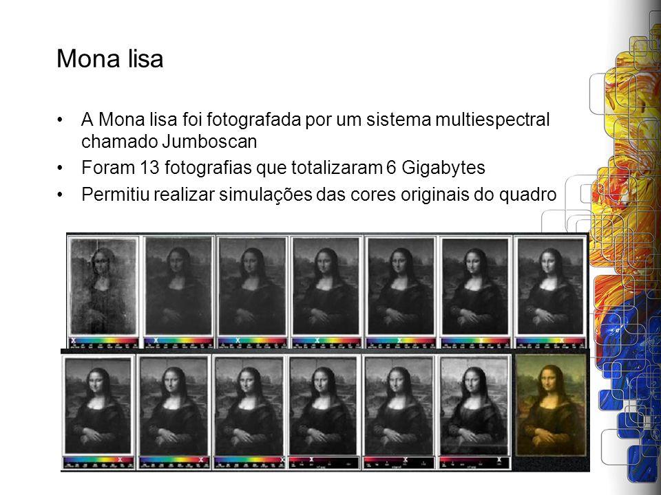 Mona lisa A Mona lisa foi fotografada por um sistema multiespectral chamado Jumboscan. Foram 13 fotografias que totalizaram 6 Gigabytes.