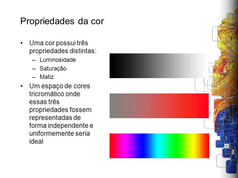 Propriedades da cor Uma cor possui três propriedades distintas:
