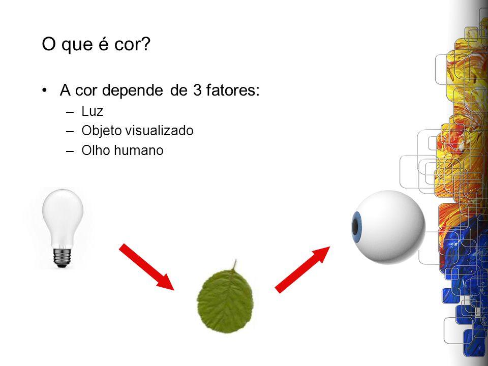 O que é cor A cor depende de 3 fatores: Luz Objeto visualizado