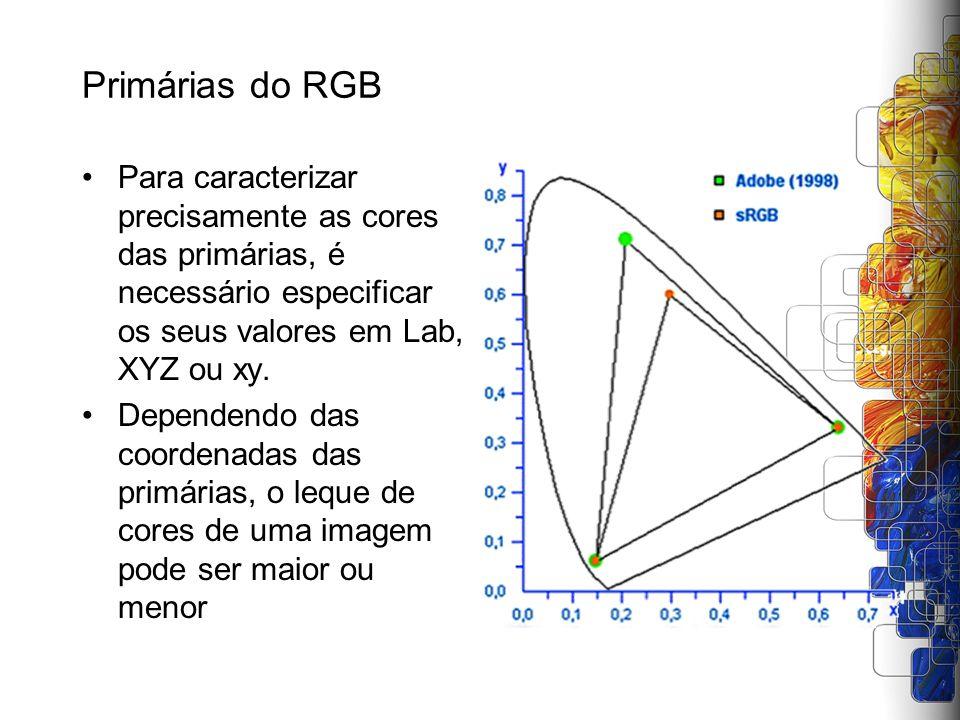 Primárias do RGB Para caracterizar precisamente as cores das primárias, é necessário especificar os seus valores em Lab, XYZ ou xy.