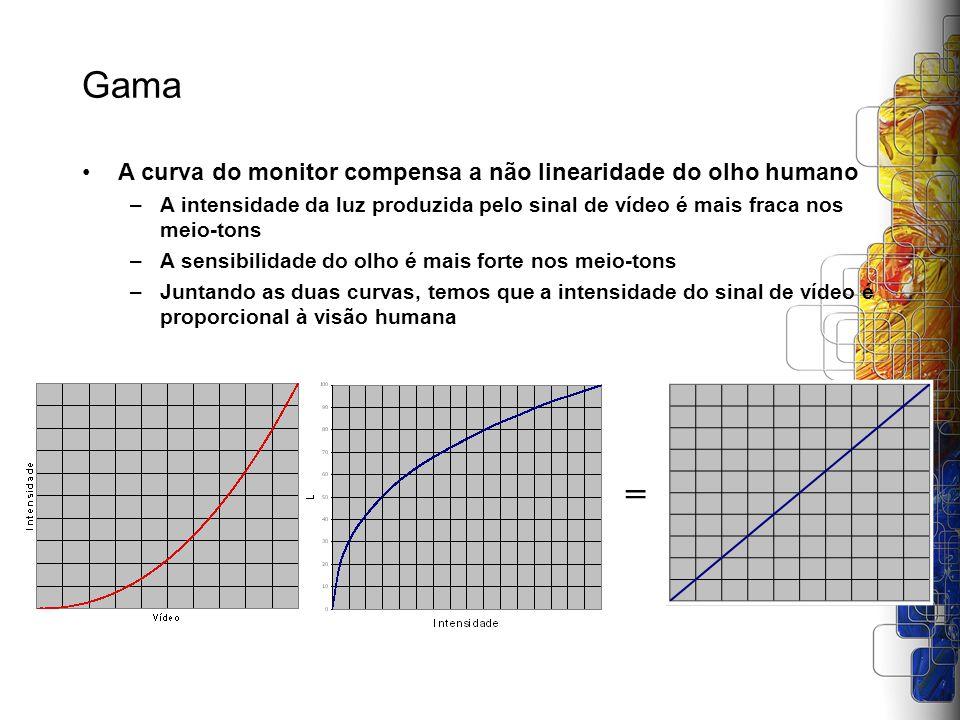 Gama = A curva do monitor compensa a não linearidade do olho humano