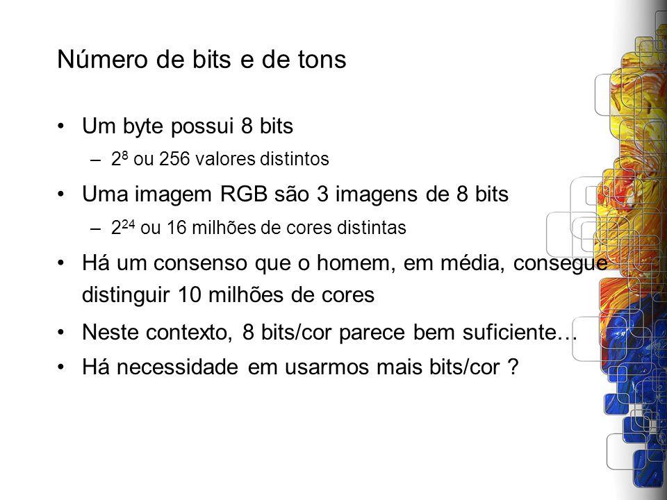 Número de bits e de tons Um byte possui 8 bits