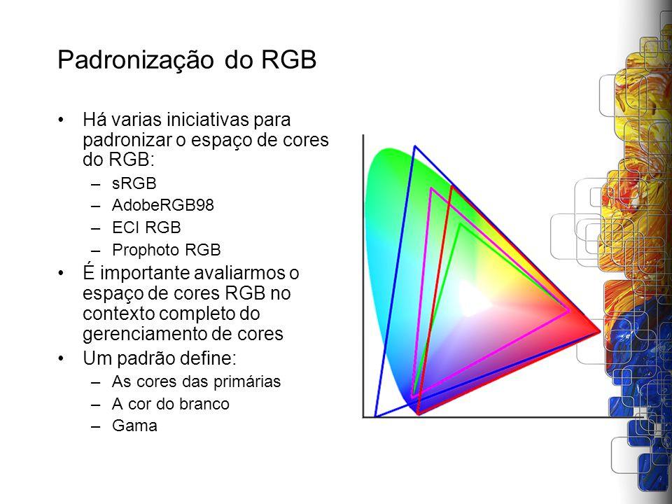Padronização do RGB Há varias iniciativas para padronizar o espaço de cores do RGB: sRGB. AdobeRGB98.