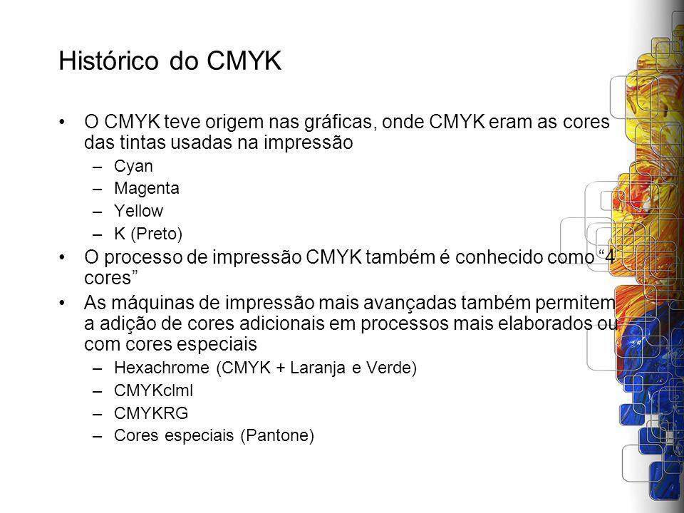 Histórico do CMYK O CMYK teve origem nas gráficas, onde CMYK eram as cores das tintas usadas na impressão.