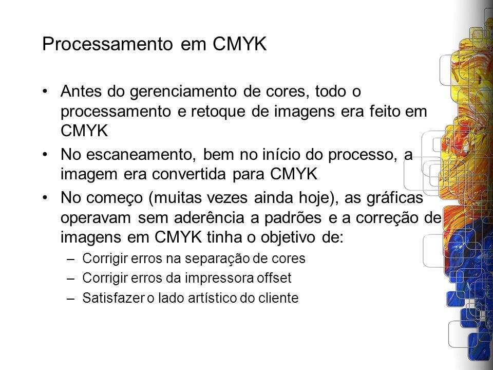 Processamento em CMYK Antes do gerenciamento de cores, todo o processamento e retoque de imagens era feito em CMYK.
